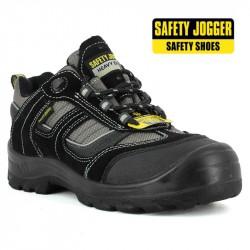 Chaussure de sécurité haute en tissu rouge type converse S1P